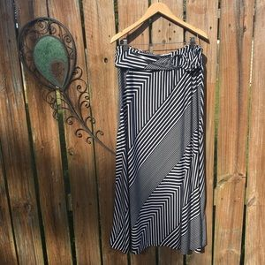 Robert Louis striped A-line maxi skirt